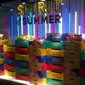 Vivid LED contour lighting shows the Spirit of Summer